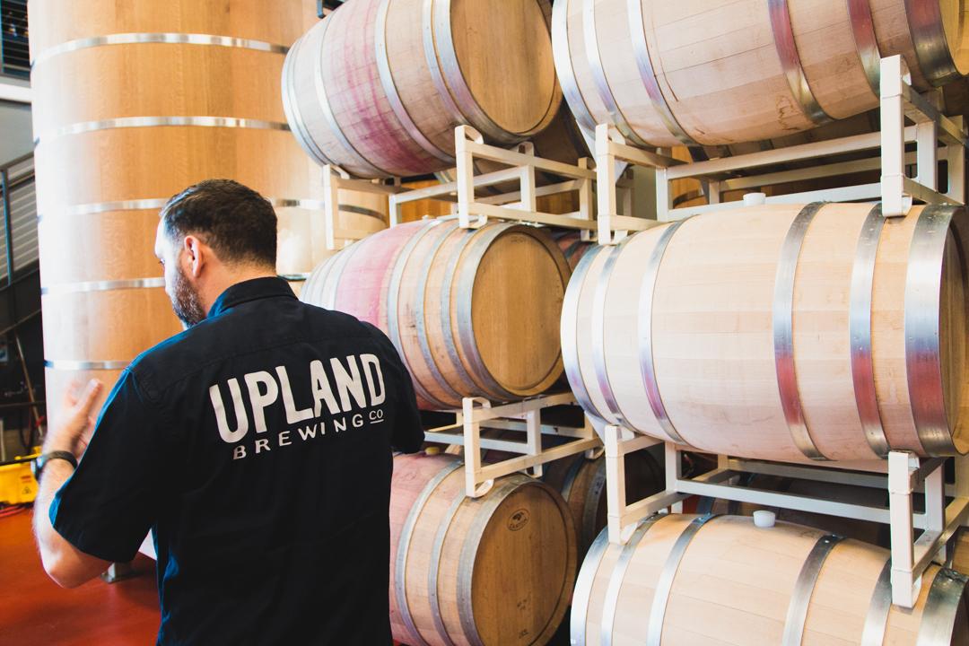 pete batule explaining the barrel aging process of upland sours
