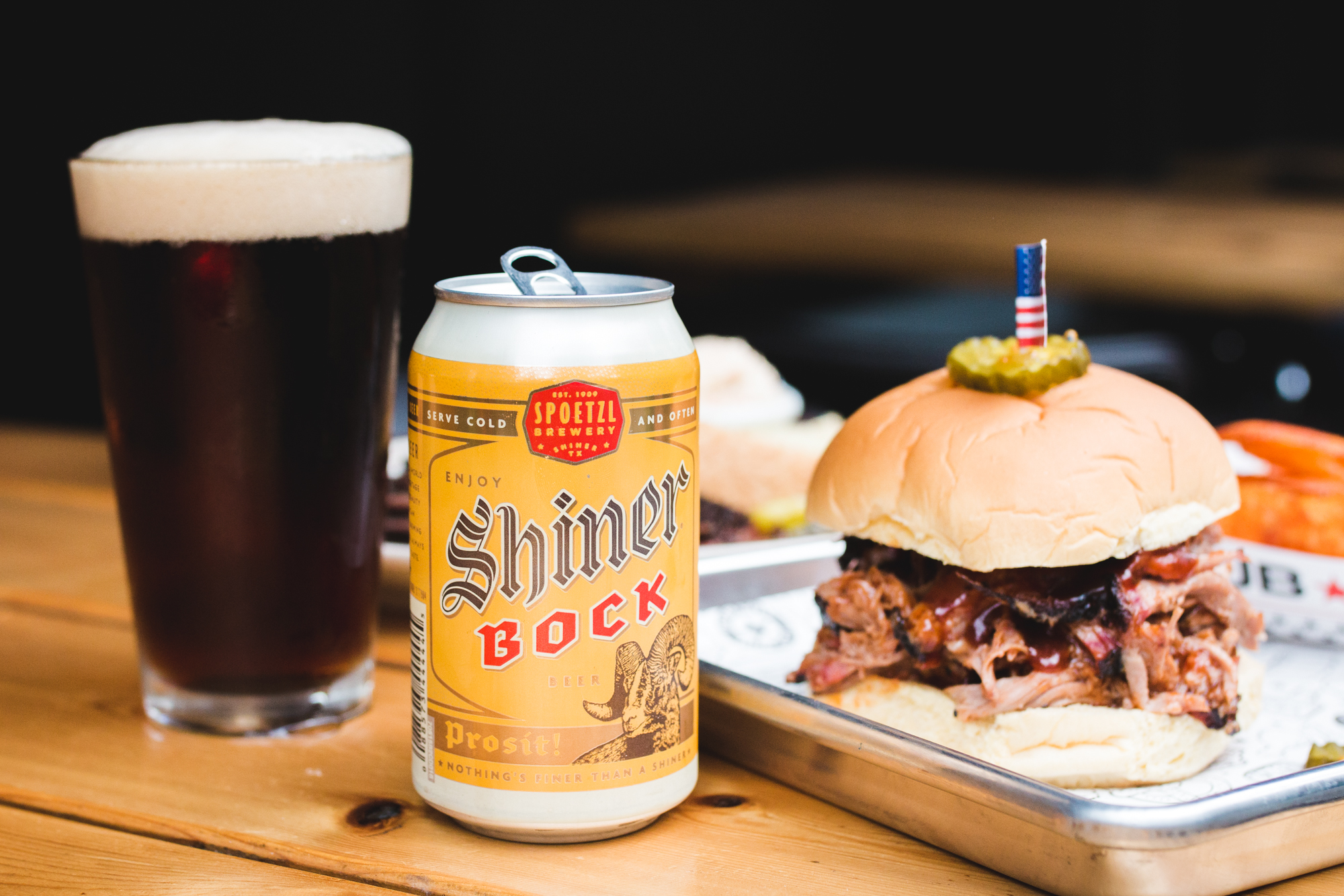 Shiner Bock and Bub City pulled pork